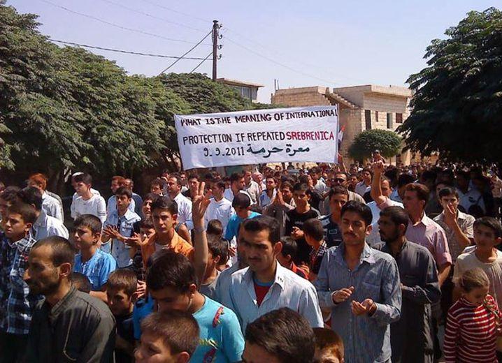 Demonstranten in Maarat Hurma