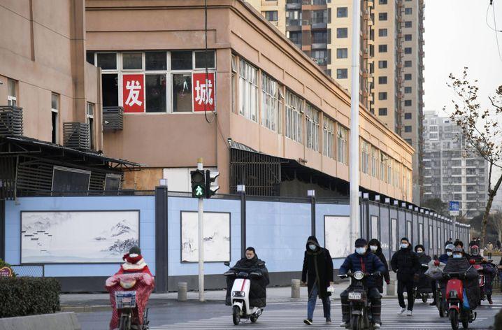 Der mit blauen Barrikaden abgeschirmte Huanan-Markt in Wuhan