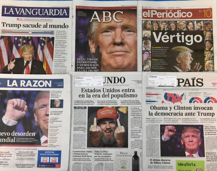 Spanish newspapers on Thursday led with Trump.