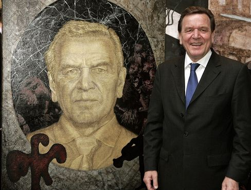 Immendorff's likeness of Gerhard Schröder today hangs in the gallery at the federal chancellery in Berlin.
