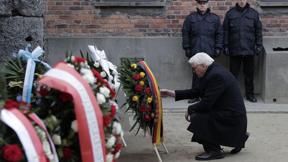 Bundespräsident Steinmeier bei Kranzniederlegung: vor allem stiller Beobachter