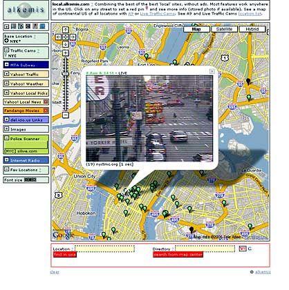 Karte von New York mit Verkehrskameras: Polizeifunk optional zuschaltbar