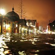 This Saturday photo shows flooding at Hamburg's landmark Fish Market.