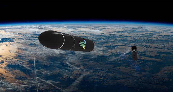 Rakete von HyImpulse im All (künstlerische Darstellung)