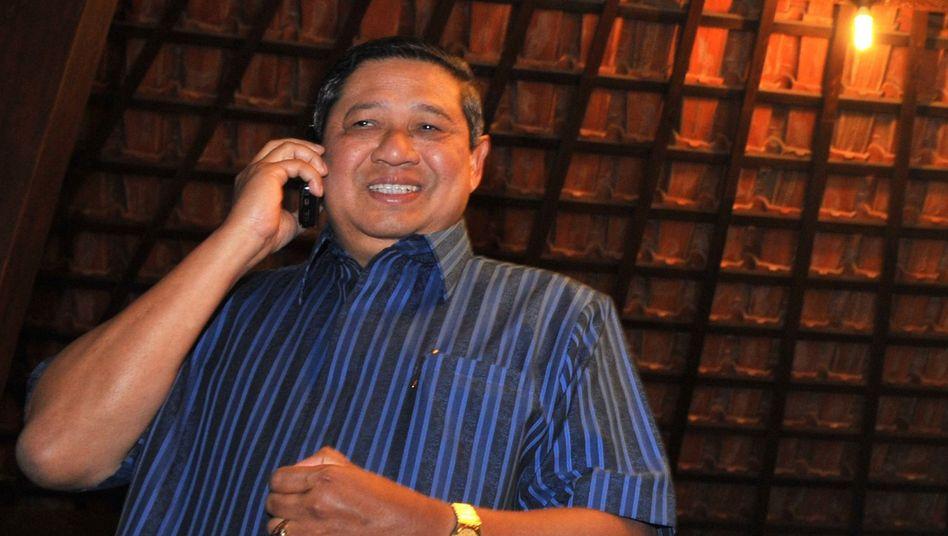 Indonesiens Präsident Susilo Bambang Yudhoyono am Handy: Zwei Wochen lang ausspioniert