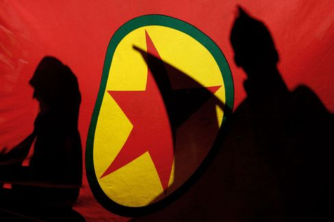 "The PKK flag. The group wants Germany to end its ""hostile policy"" against the Kurds."
