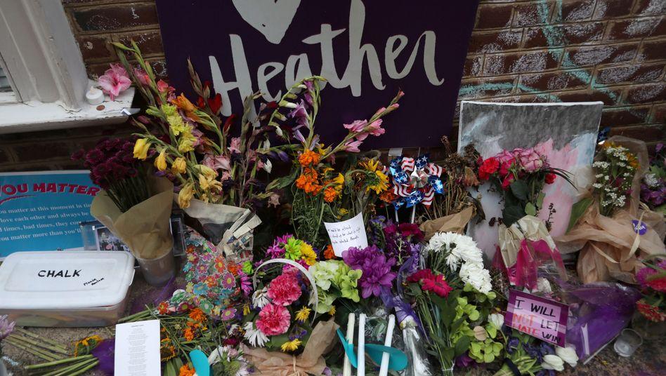Gedenkstätte für Heather Heyer, die 2017 bei den Protesten in Charlottesville getötet wurde