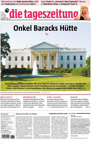 "Offensive or satirical? The Taz's cover Thursday featured a picture of the White House with the headline ""Uncle Barack's Cabin."""