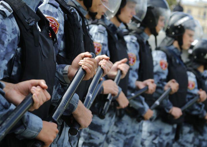 Sicherheitskräfte bei der Kundgebung
