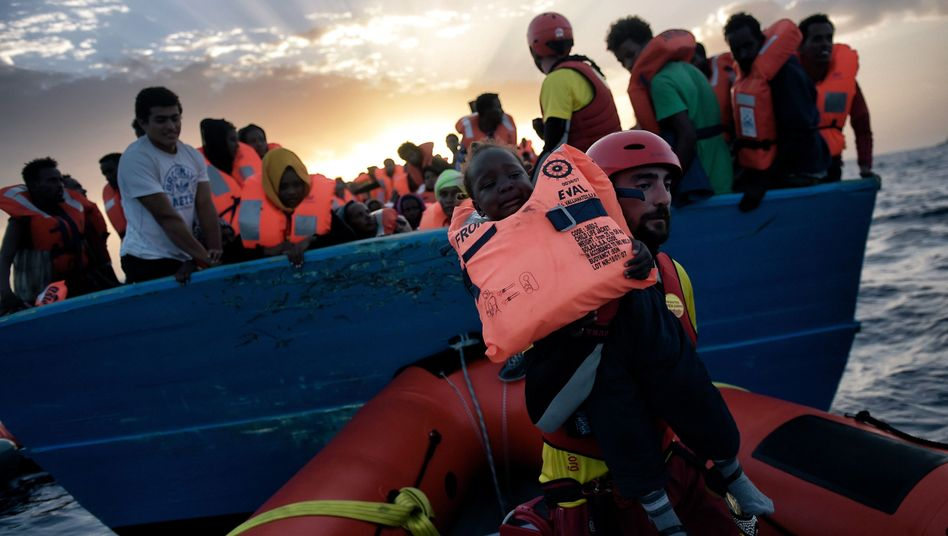 Rescued refugees off the coast of Libya