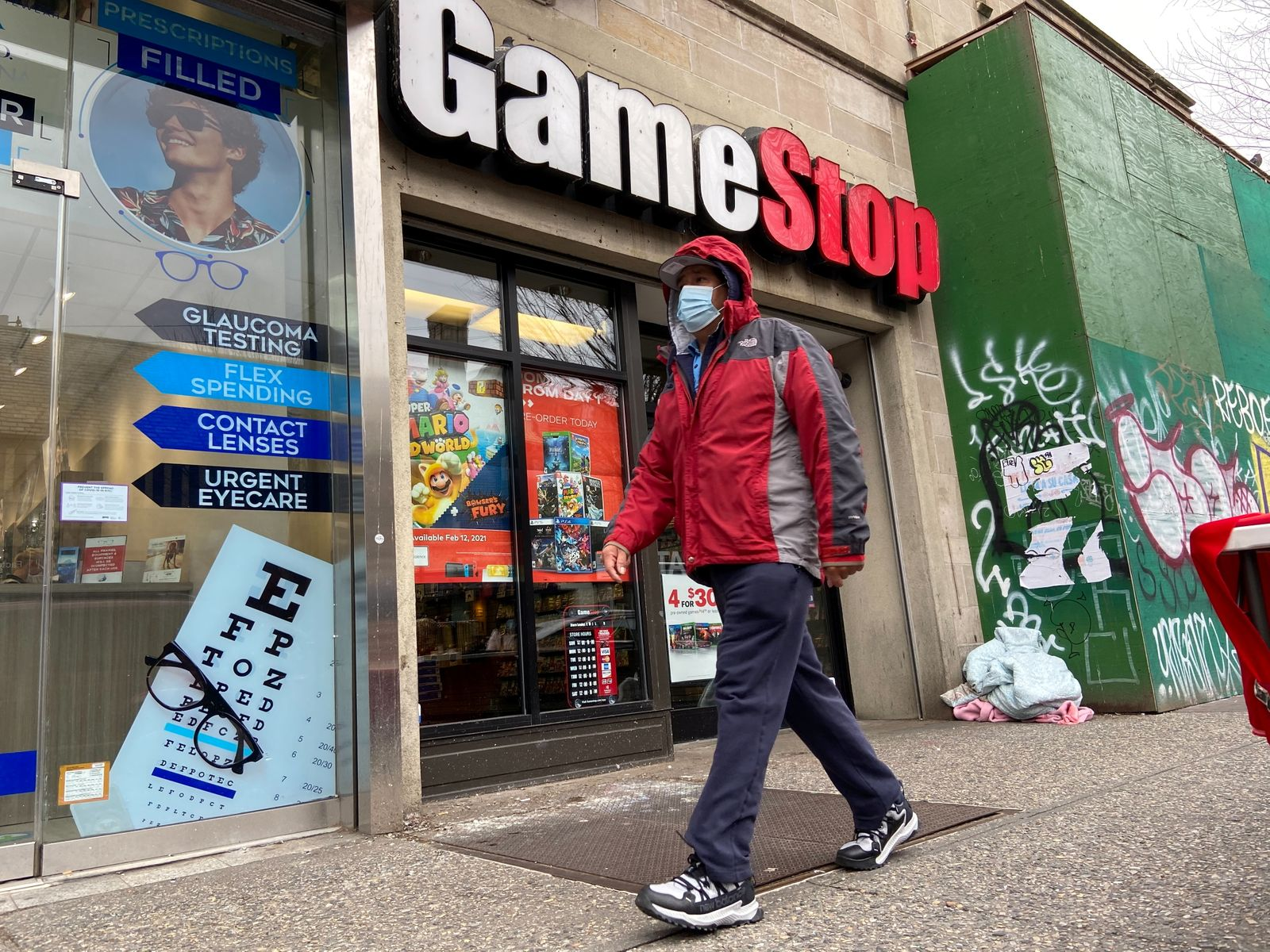 A GameStop store is seen in the Jackson Heights neighborhood of New York City