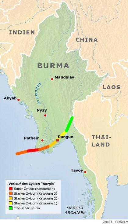 Quer durch das Irrawaddy-Delta: Der Weg des Zyklons