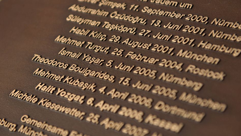 A memorial plaque to the victims of the NSU, the neo-Nazi trio that murdered 10 people.