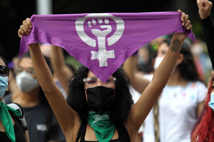 A march against femicide in Guadalajara, Mexico, in September: Many girls in the country grow up with an extremely conservative view of women in society.