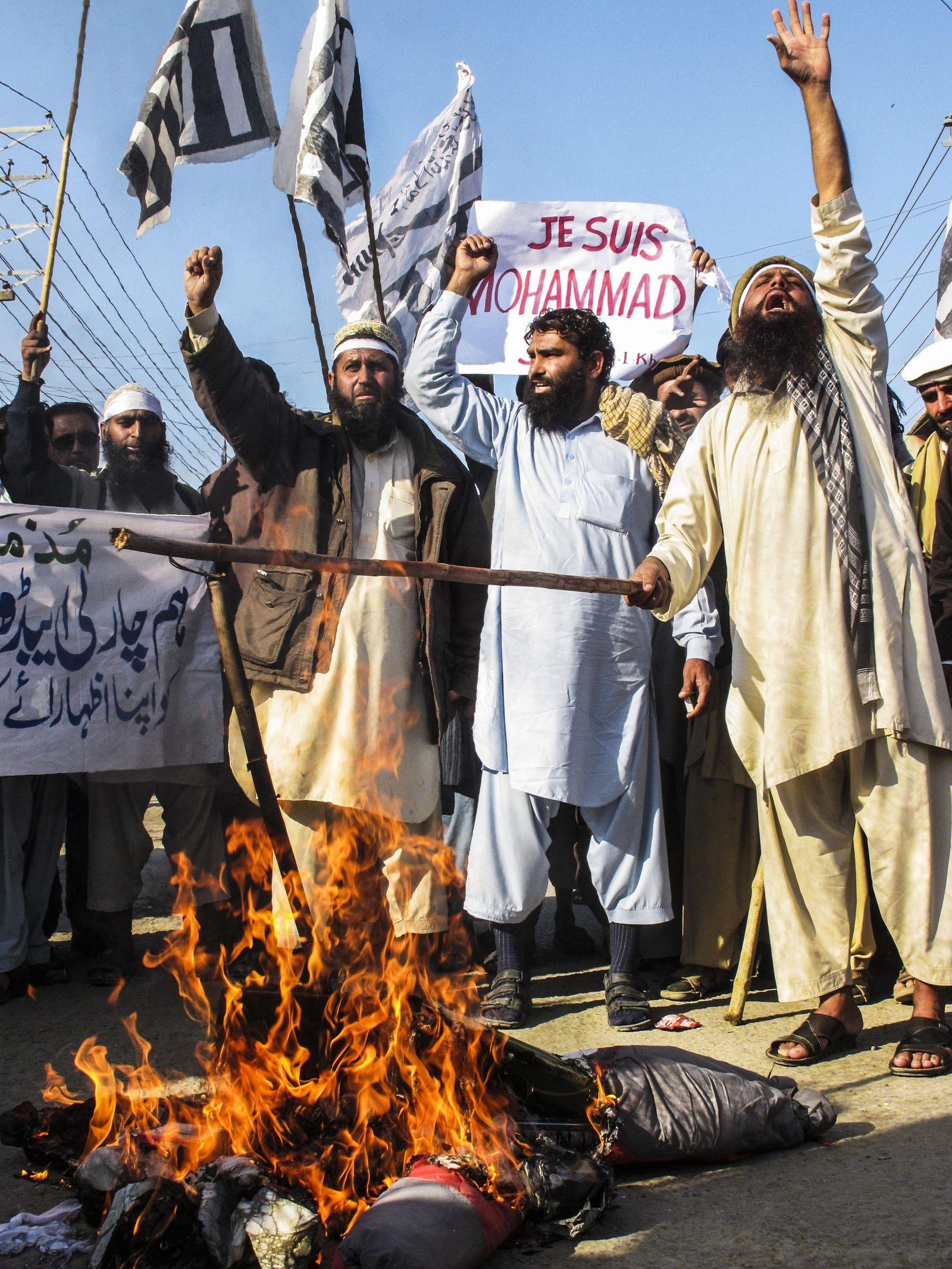 Protest gegen Charlie Hebdo in Karachi
