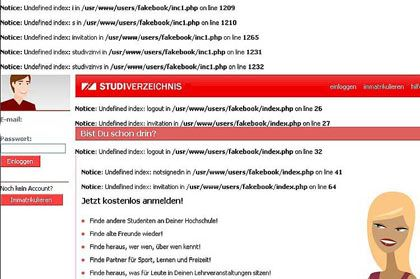"""Screenshot StudiVZ-Quellcode: Gericht entscheidet - kein """"Fakebook"""""""