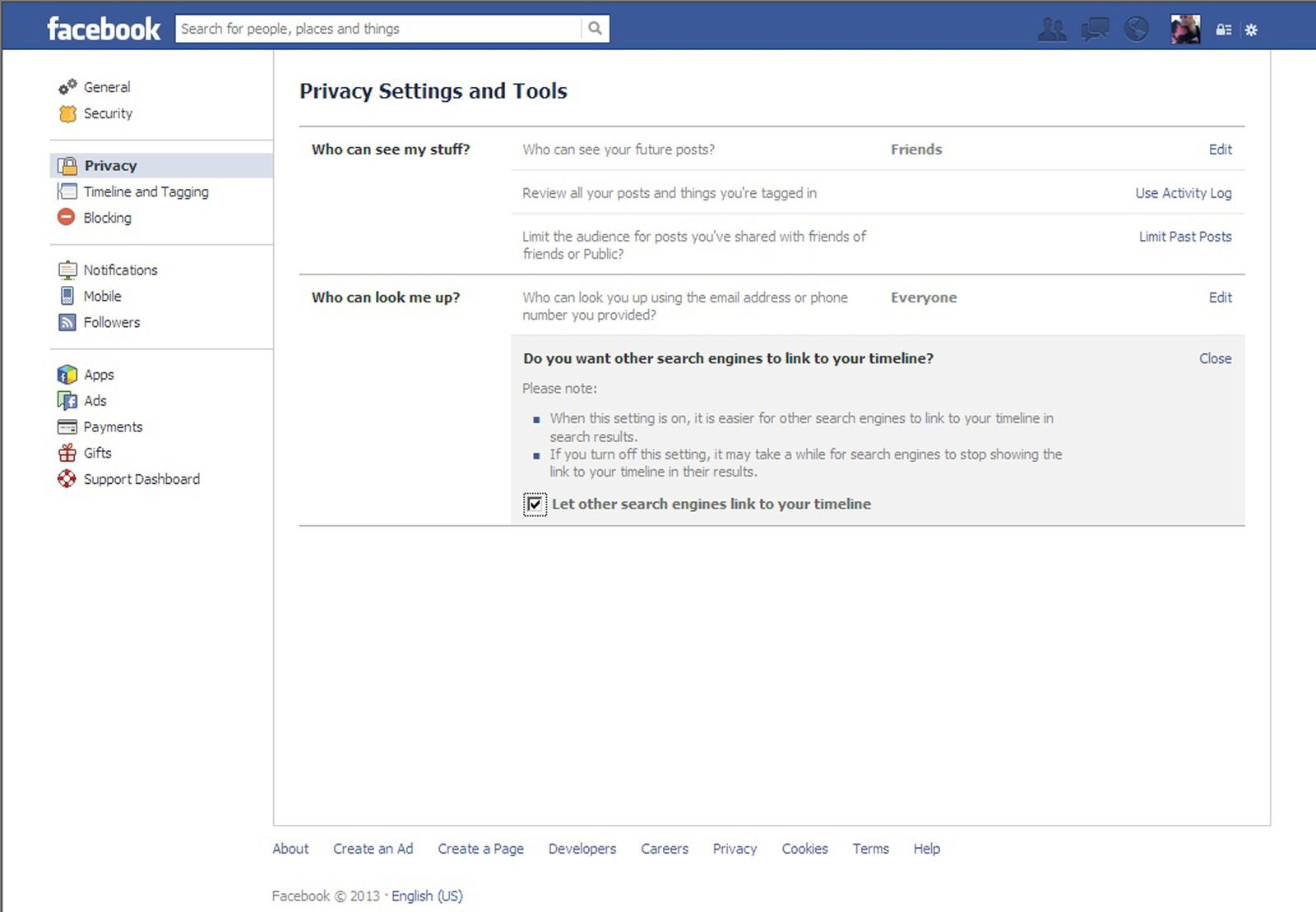 Facebook/ Privacy/ Screenshot