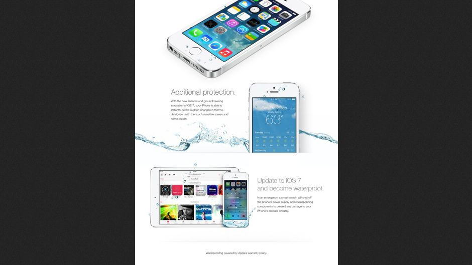 """Gefälschte Apple-Anzeige: """"Zusätzlicher Schutz"""" durch iOS 7"""