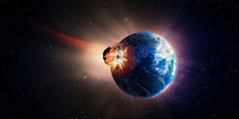 Meteoriteneinschlag (künstlerische Darstellung)