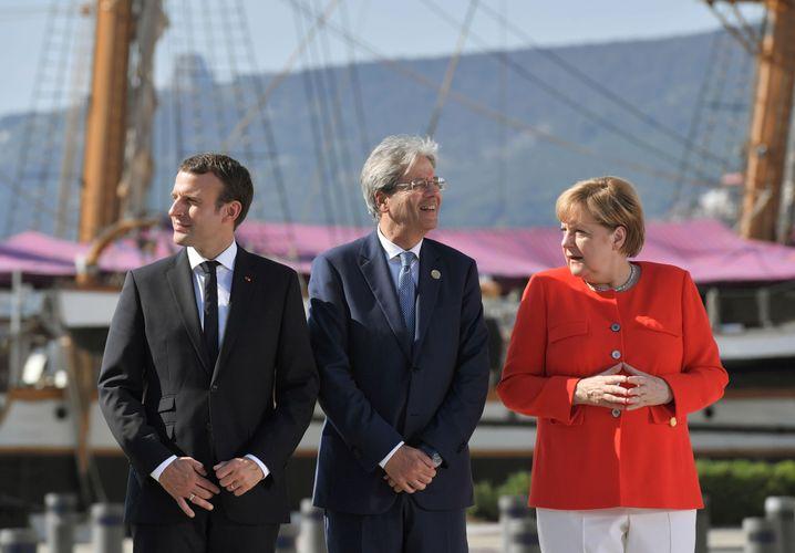 Kanzlerin Merkel , Italiens Premier Gentiloni