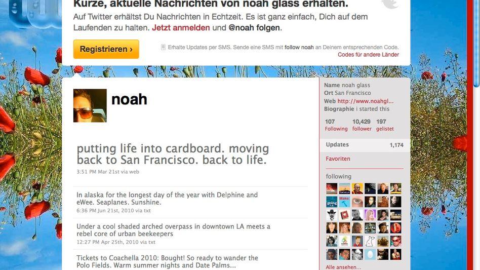 """Noah Glass' Twitter-Konto: """"I started this"""" steht rechts, ein Hinweis auf seine Rolle"""