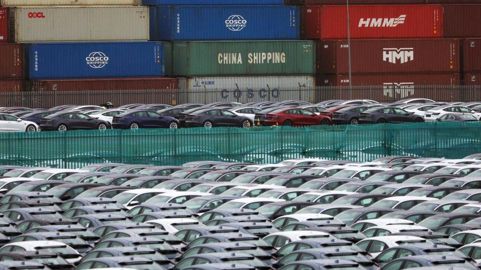 Fahrzeuge stehen im Hafen von Southampton neben Containern