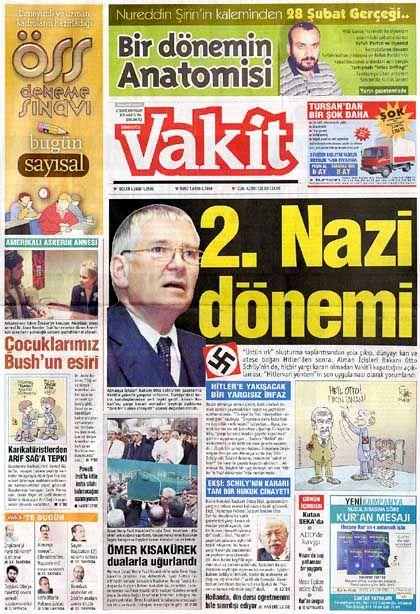 """""""Vakit""""-Titelseite: """"Schlimme antisemitische, rassistische Publikation"""""""