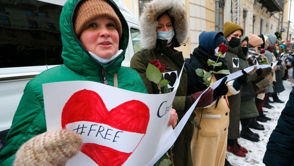 Kundgebung zur Unterstützung des inhaftierten Kremlkritikers Nawalny im Februar 2021 in Moskau
