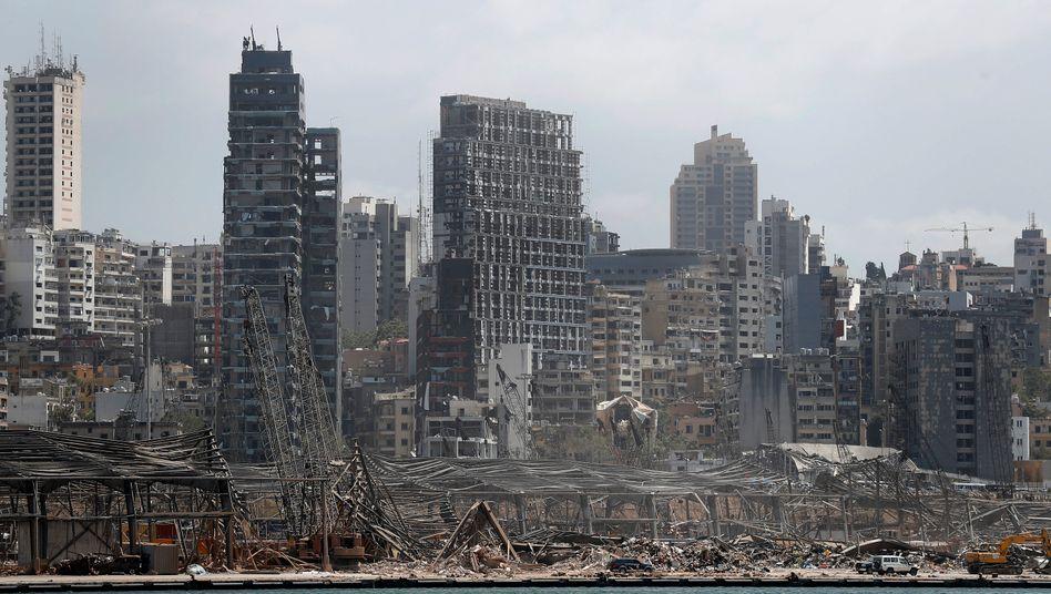 Das zerstörte Hafenlager in Beirut