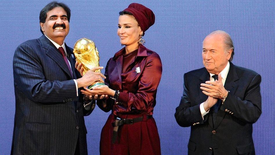 Katarischer Emir Hamad, Ehefrau, Fifa-Chef Sepp Blatter in Zürich