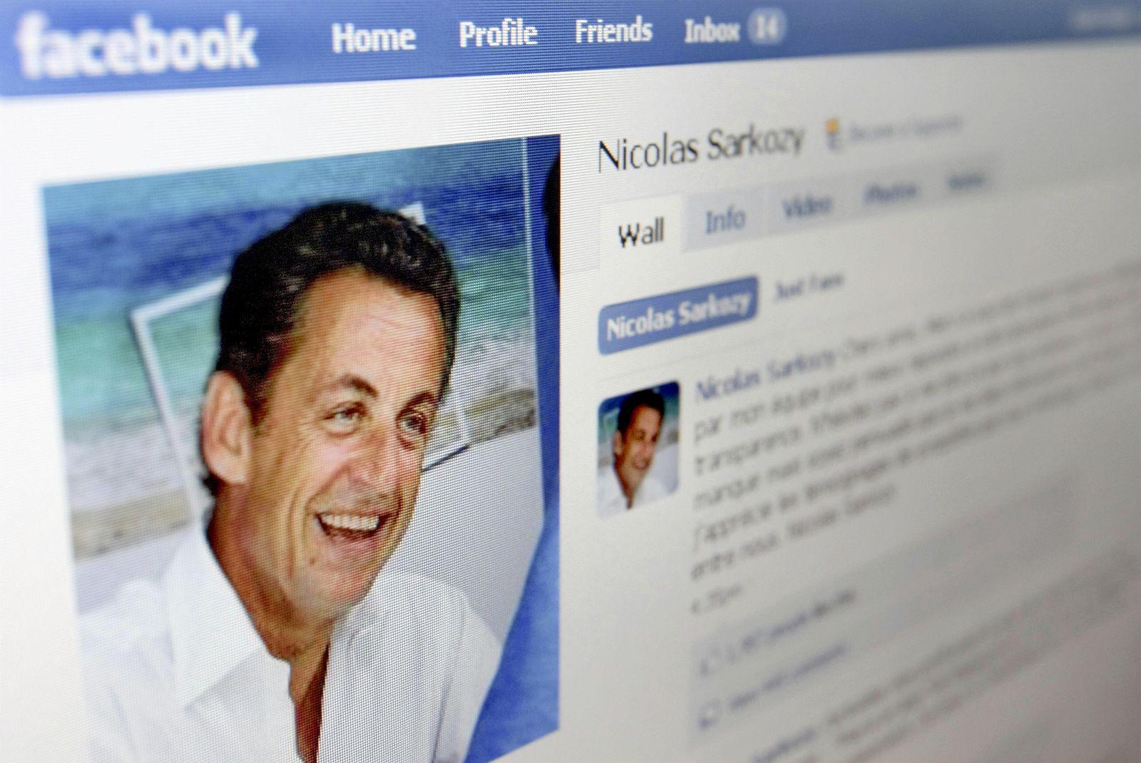 Nicolas Sarkozy's page on the networking website Facebook