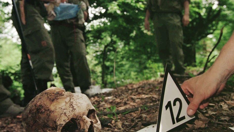 A Finnish forensic expert places a number next to the skull of a Srebrenica victim found in the hills above the village of Kravice near the Bosnian town where the massacre took place.