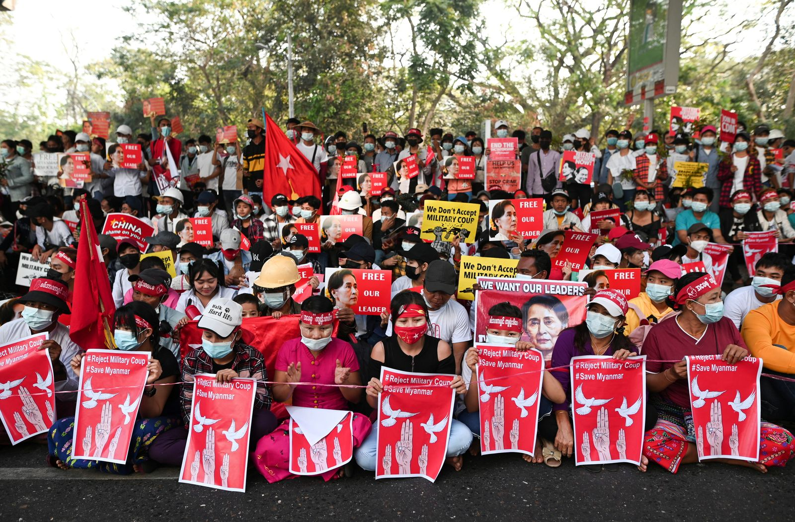 Demonstrators protest against military coup