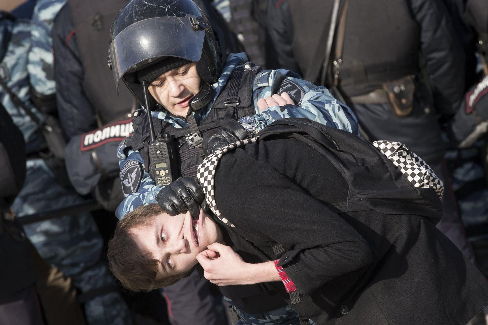 Russland Moskau Protetste