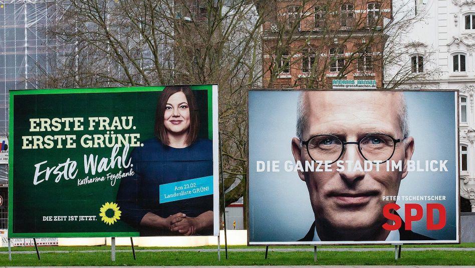 Plakate von Grünen und SPD zur Bürgerschaftswahl: Eine Wette auf den Veränderungswillen der Bürger
