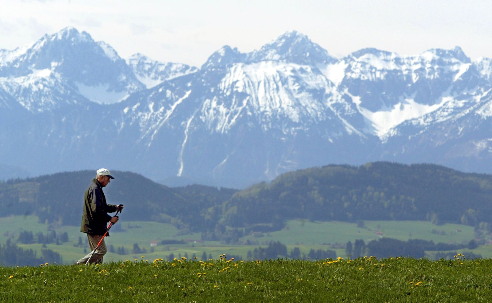 Wandern vor Bergpanorama