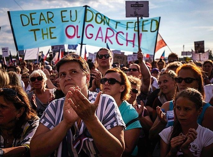"""An anti-government protest in Prague in 2019: """"It's of no consequence to me."""""""