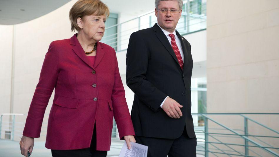 Werben für den Freihandel: Angela Merkel und Stephen Harper