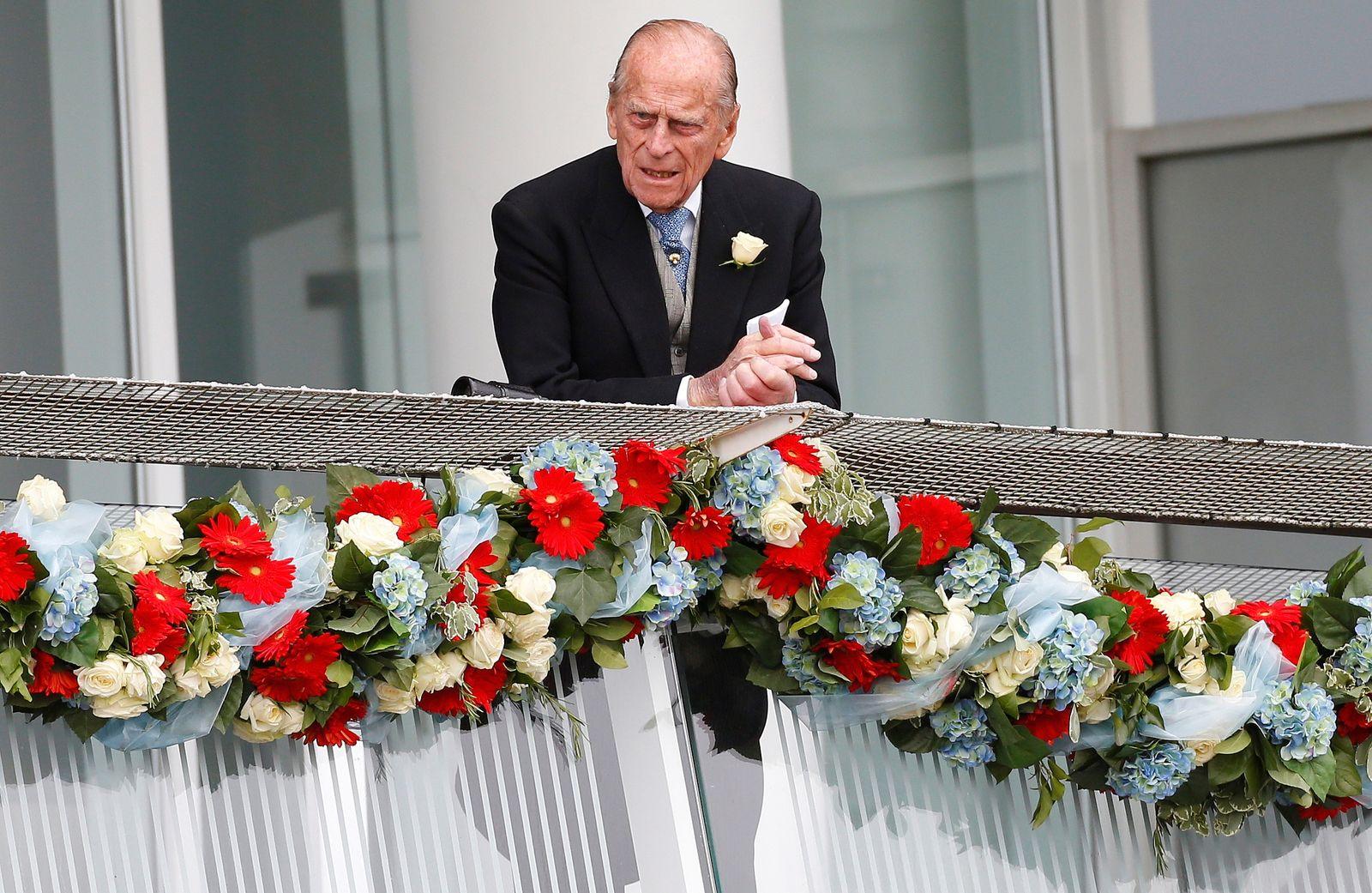 FILE PHOTO: Britain's Prince Philip, Duke of Edinburgh attends the Epsom Derby in Epsom, south of London