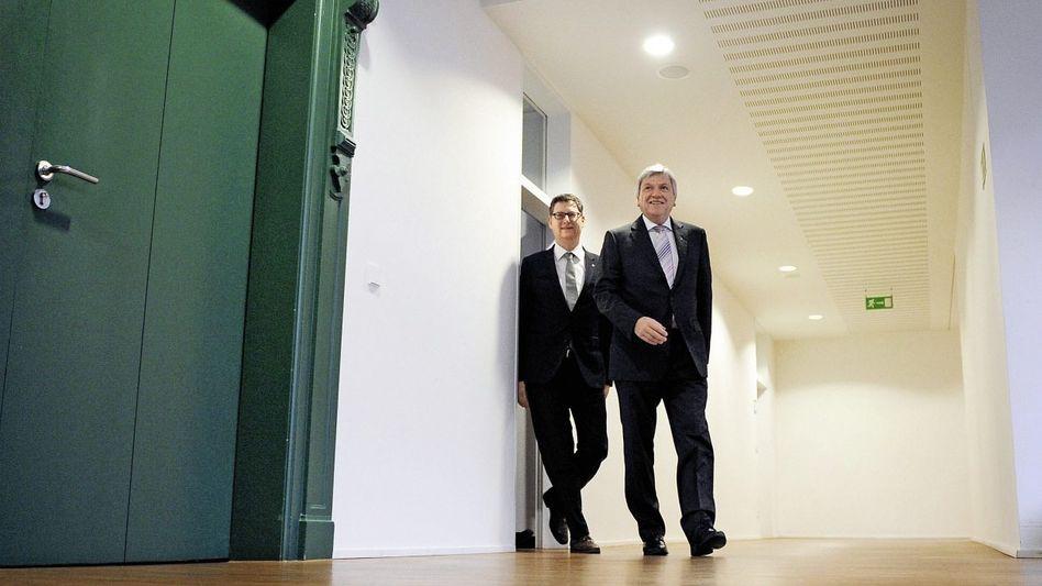 Gesprächspartner Schäfer-Gümbel, Bouffier im Hessischen Landtag