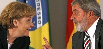 Merkel, Lula: Gute Laune beim Treffen mit Brasiliens Staatschef