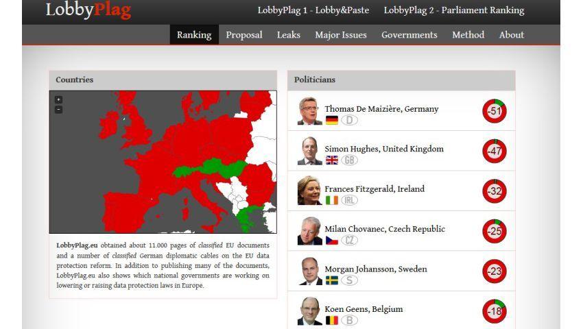 Startseite von Lobbyplag: 87 Prozent aller Vorschläge lockern laut der Websites den Datenschutz