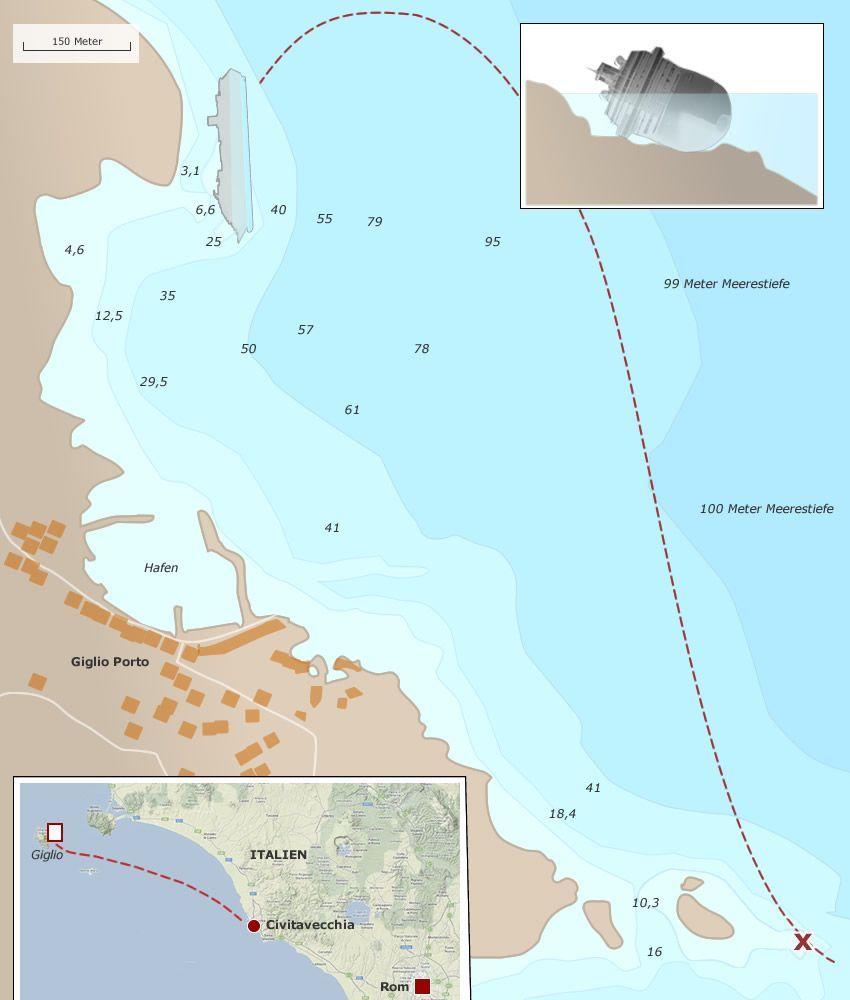 Grafik Costa Concordia Lage