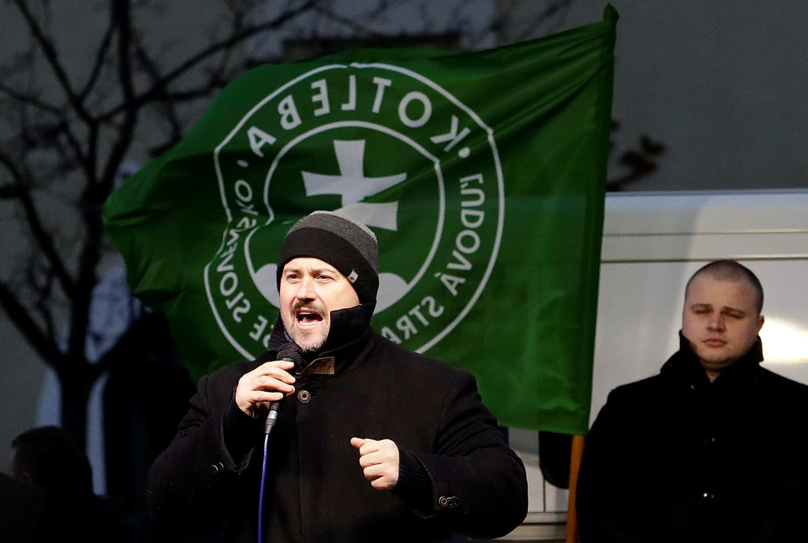 Leader of People's Party Our Slovakia Marian Kotleba speaks during an election campaign rally in Topolcany