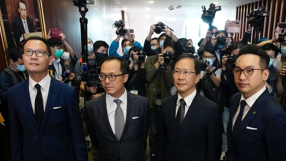 Von Peking gestoppt: Alvin Yeung, Dennis Kwok, Kwok Ka-Ki und Kenneth Leung