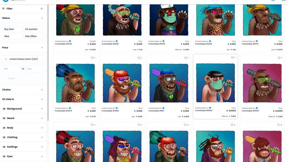 Die »Evolved Apes« (Screenshot): die Kunst bleibt, das Geld ist weg.
