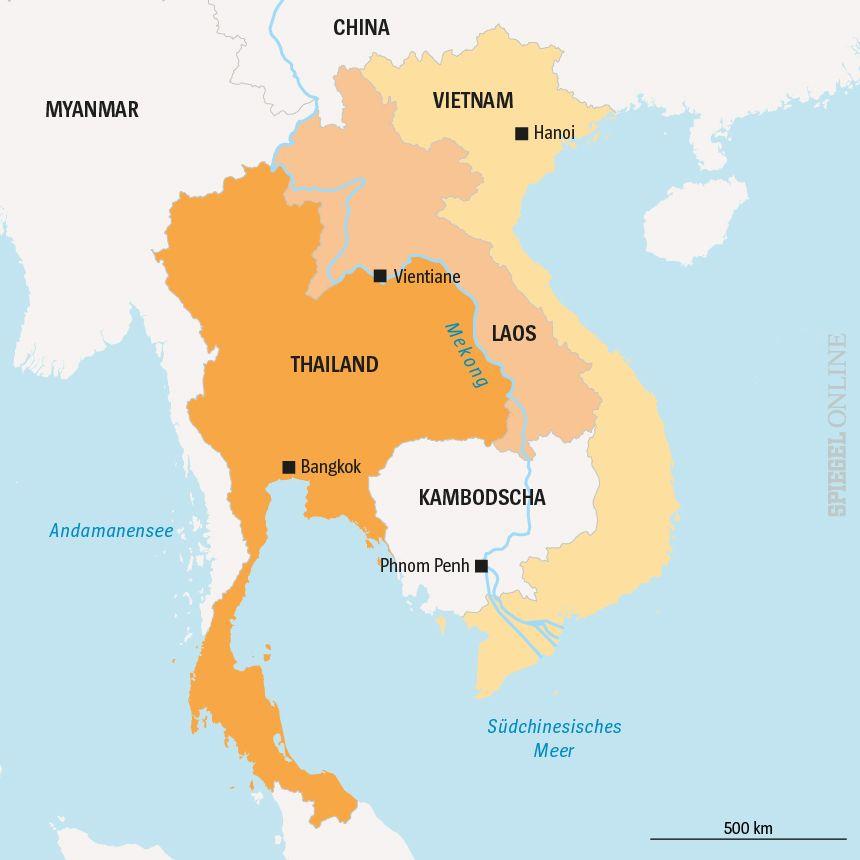 Karte Laos Vietnam Thailand Mekong