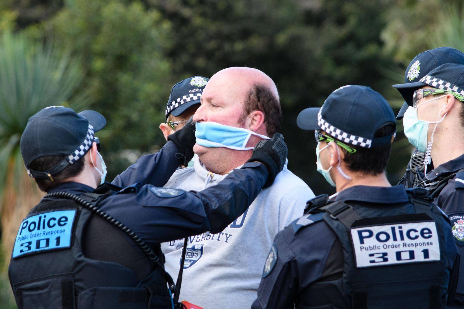 September 5, 2020, Melbourne, Victoria, Australia: A protester is arrested at a Freedom Day protest against lockdown reg