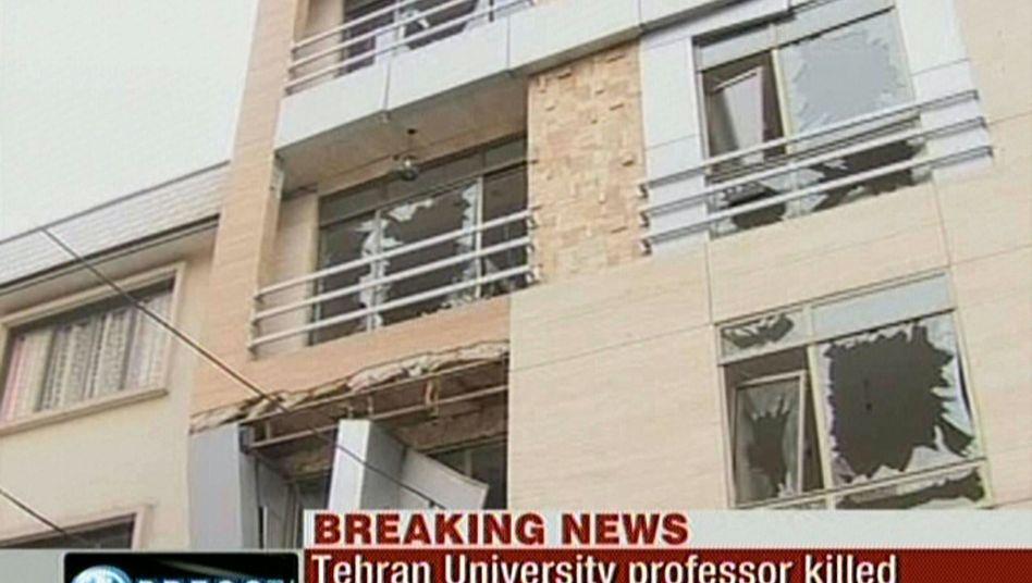 Bildausschnitt von iranischem Sender Press-TV: Anschlag vor dem Haus des Professors