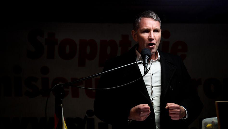 """Björn Höcke (Mitte Februar bei einer Pegida-Demonstration in Dresden): Zentrale Figur beim AfD-""""Flügel"""""""